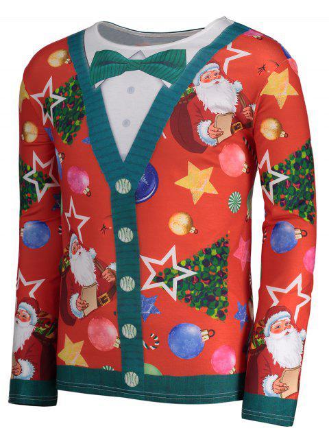 Christmas Tree Santa Print Long Sleeve T-shirt - 紅 3XL Mobile