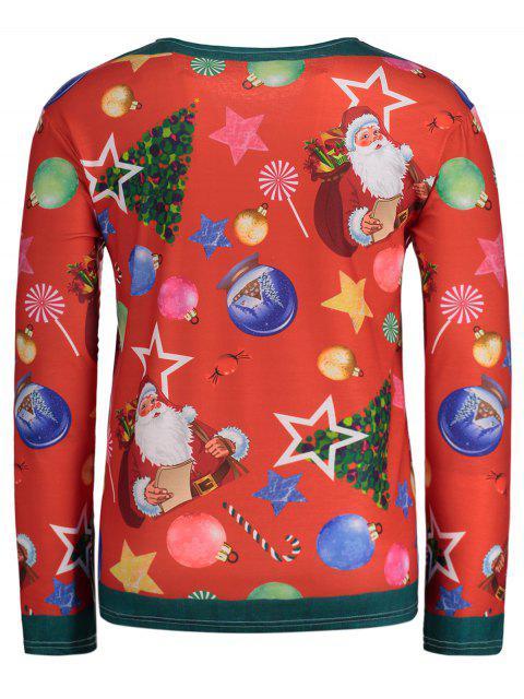 Christmas Tree Santa Print Long Sleeve T-shirt - 紅 2XL Mobile