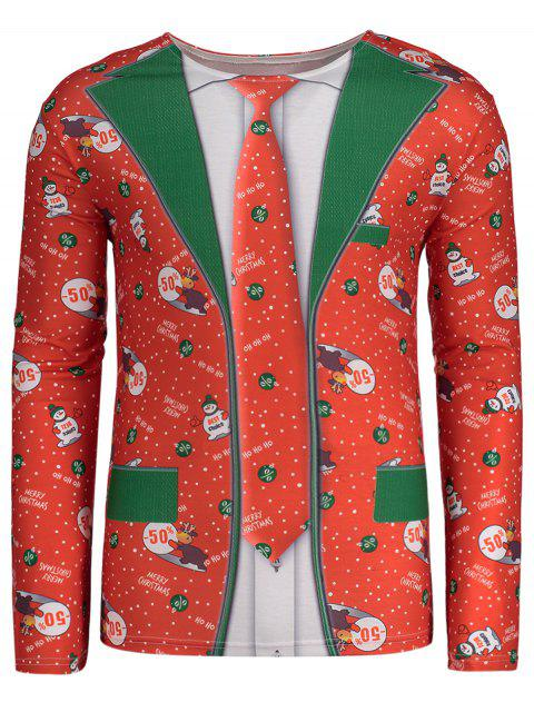 Crew Neck Long Sleeve Christmas T-shirt - 紅 XL Mobile