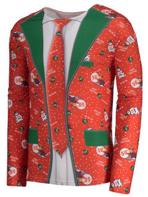 T-shirt natalizia manica lunga manica collo - Rosso 2XL Mobile