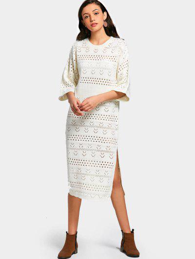 Slit Sheer Sheath Sweater Dress - White