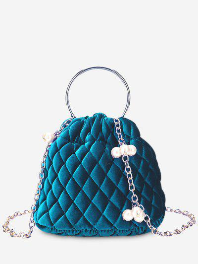 Stitching Quilted Faux Pearl Crossbody Bag - Blue