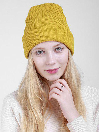 Plain Flanging Ribbed Knit Beanie - Mustard