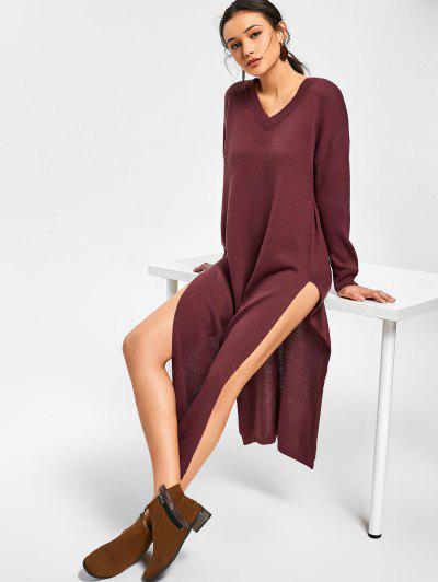 Side Slit V Neck Sweater Dress - Dark Red