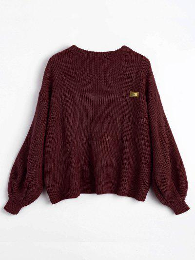 ZAFUL Oversized Badge Patched Pullover Sweater - Dark Red
