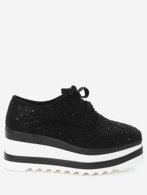 Rhinestone Square Toe Wedge Schuhe