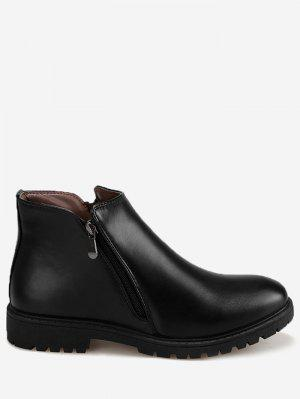 Faux Leather Side Zip Ankle Boots