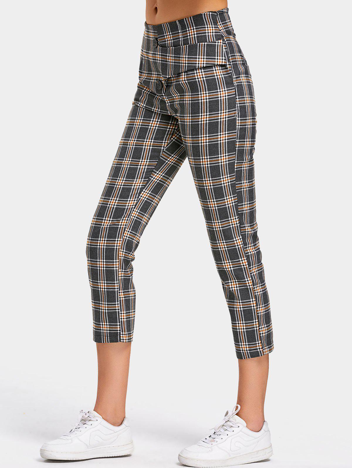 Image of Back Faux Pocket Checked Capri Pants