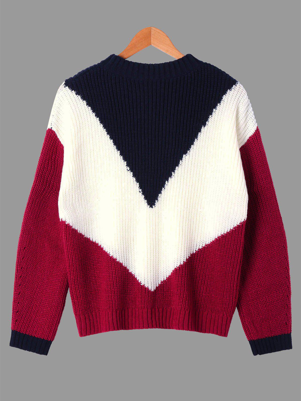 Ribbed Color Block Crew Neck Sweater 229426604