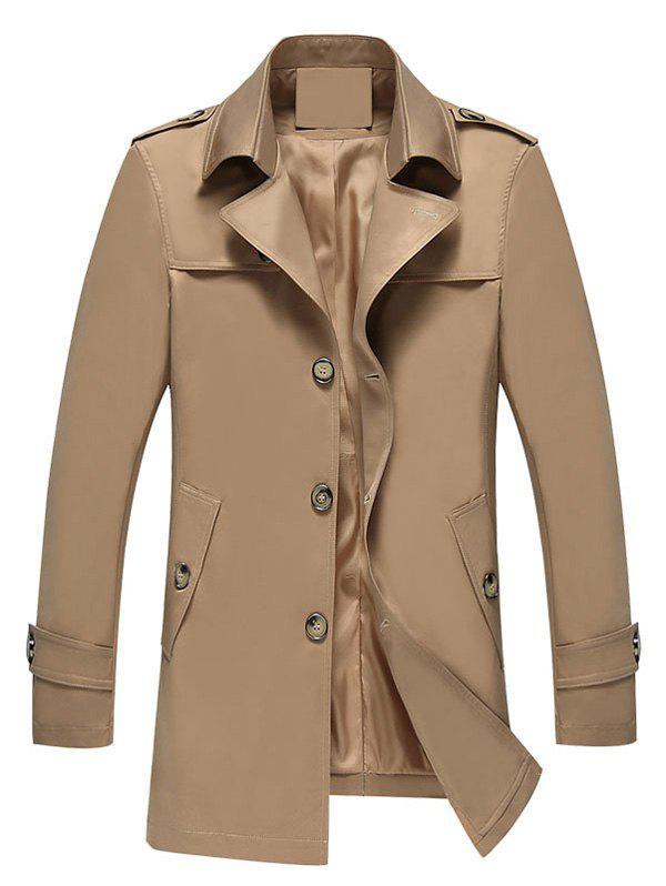 Turndown Collar Epaulet Single Breasted Coat