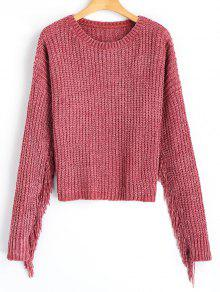 Pullover Cozy Fringe Sweater - Pale Rose Gris