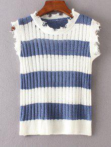Suéter Con Rayas De Chaleco De Rayas - Azul