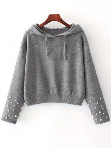 Pullover Mit Perlen Und Kapuzen  - Grau M