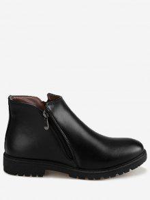 فو الجلود الجانب البريدي الكاحل الأحذية - أسود 39