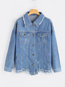 Patch Design Frayed Hem Denim Jacket DENIM BLUE: Jackets & Coats S ...