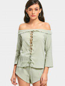Lace Up Off Shoulder Top E High Waisted Shorts - Luz Verde M