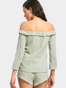 Top Alto De L Pantalones Con Cortos Verde Claro Hombros Corto Talle Y Descubiertos 44xqrfp