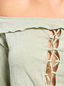 Verde Claro Corto Y De L Pantalones Cortos Hombros Con Descubiertos Alto Talle Top TRHfqvf