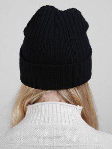 9b0a6c55221 ... Plain Flanging Ribbed Knit Beanie. buy Plain Flanging Ribbed Knit Beanie  - BLACK