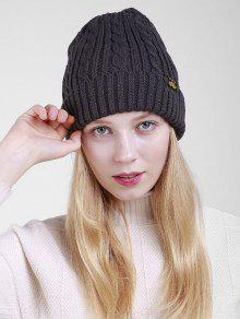 Patrón De Etiqueta Espesar Flanger Knitted Beanie - Gris Oscuro