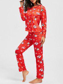 Conjunto De Pijamas Zip De Navidad Con Estampado De Copos De Nieve - Rojo Xl