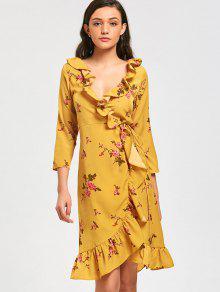Vestido Midi Floral E Transpassado - Amarelo S