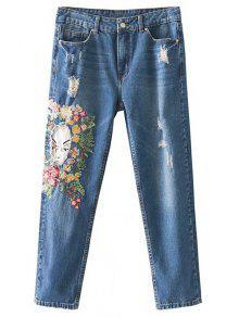 جينز مرقع مطرز بنمط الأزهار  - ازرق M