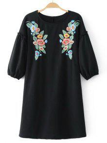 Vestido Casual Con Bordados Florales Mini - Negro S