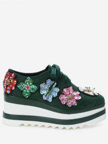Square Toe Flowers Wedge Shoes - Verde 34