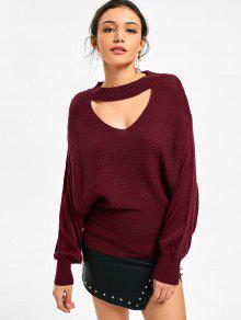 Batwing Sleeve Choker Sweater - Vinho Vermelho