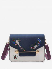 حقيبة كروسبودي مطرزة بالزهور وعصفور - أزرق
