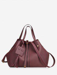 حقيبة يد مزينة بشرابة مع حزام - نبيذ أحمر