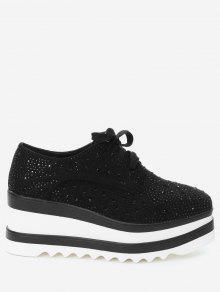 حذاء بكعب من الإسفين مربع الشكل عند الأصابع مزين بحجر الراين - أسود 34