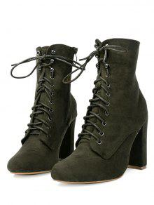Chunky Heel Lace Up Ankle Boots GREEN: Boots 39 | ZAFUL
