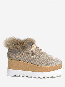 حذاء من المخمل بنعل سميك مزين بالفرو المزيف ذو شكل مربع عند الاصابع - 36