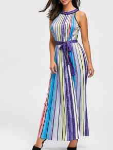 قوس قزح اللون مخطط فستان ماكسي - Xl