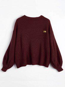 Oversized Chevron Patches Pullover Sweater DARK RED: Sweaters ONE ...