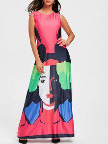 طباعة الأحرف فستان ماكسي سوينغ - البطيخ الأحمر Xl