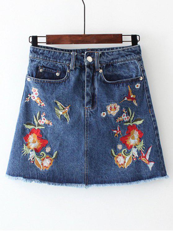 Frayed Floral Embroidered Jean Skirt - Denim Blue S