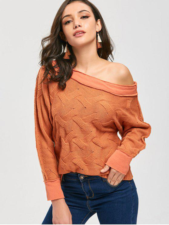 hot Skew Neck Slouchy Chunky Sweater - ORANGE ONE SIZE