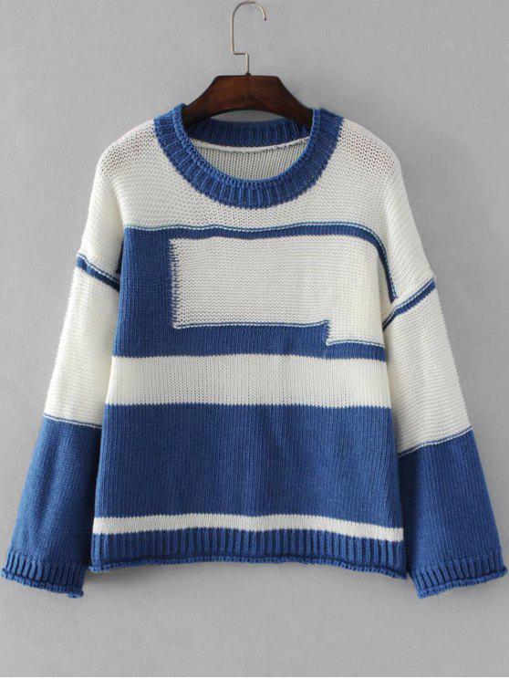Casual Weiter Zweifarbiger Pullover - Blau Eine Größe