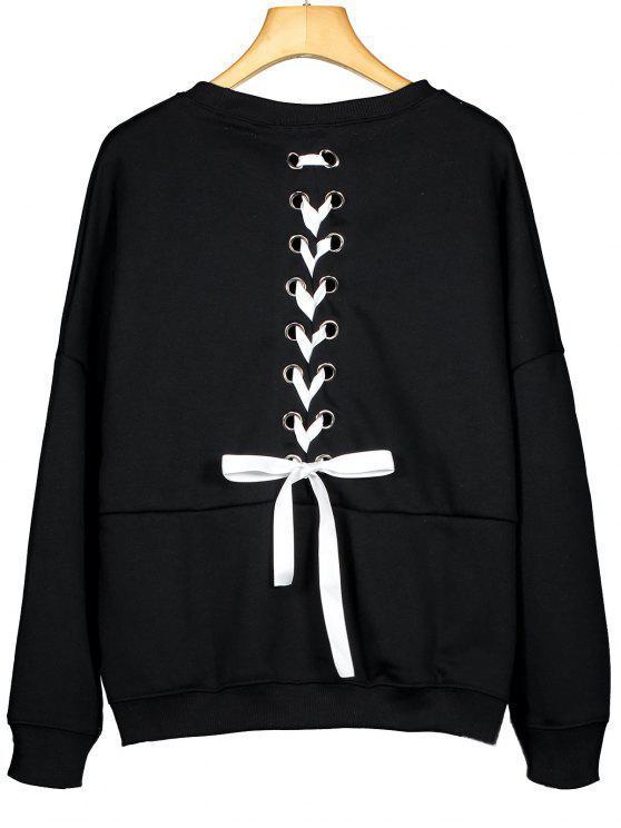 new Back Lace Up Drop Shoulder Plain Sweatshirt - BLACK M