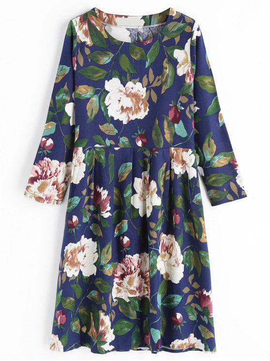 Vestito Floreale Con Maniche Lunghe E Colletto Rotondo - Blu 2XL