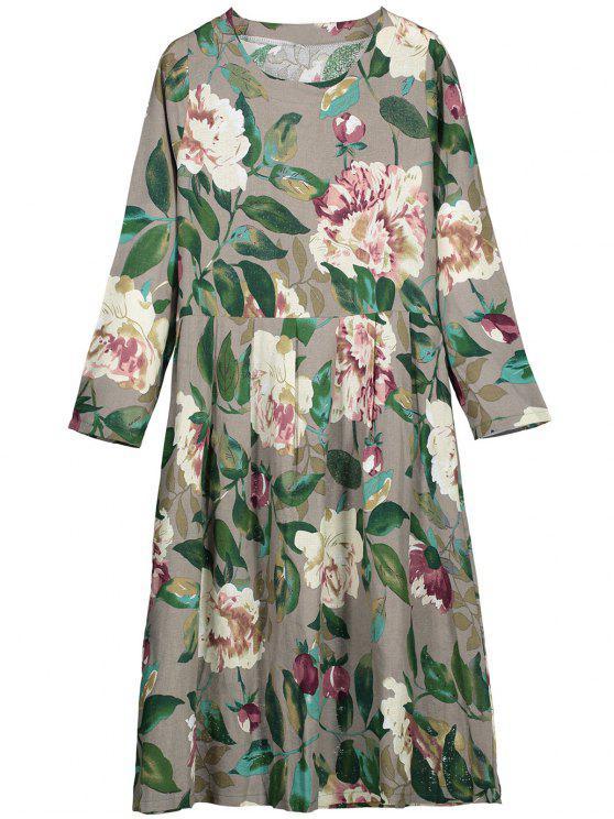 Runder Kragen Langarm Blumen Kleid - Grau L