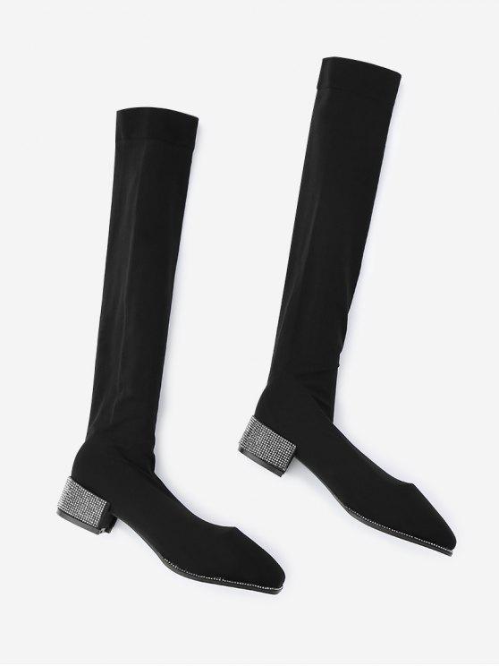 7341ddadb676 52% OFF  2019 Rhinestone Chunky Heel Thigh High Boots In BLACK ...