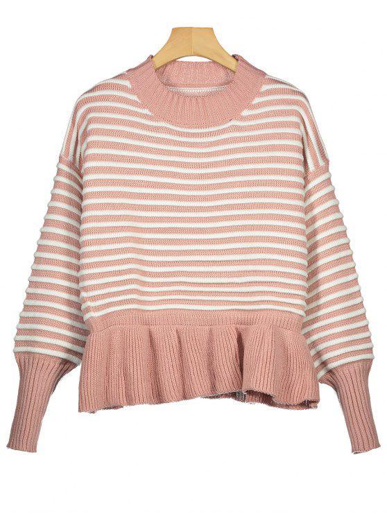 Gestreifter Pullover mit Tropfen Schulter und Rüschen Saum - Pink Eine Größe