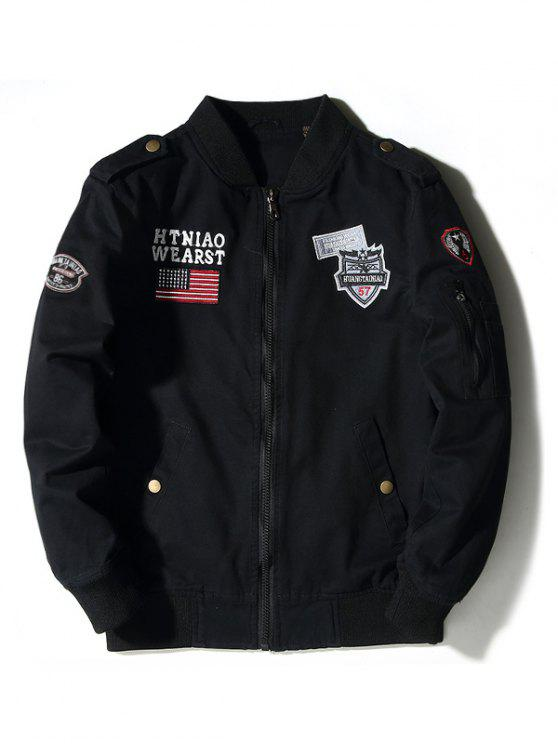 shops Enbroidered Applique Bomber Jacket - BLACK 2XL