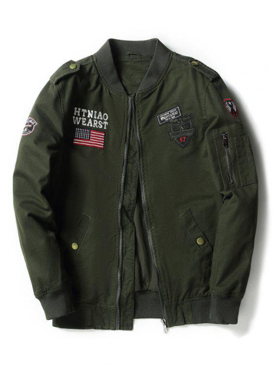 جاكيت الطيار مطرز أبليك - الجيش الأخضر 4XL