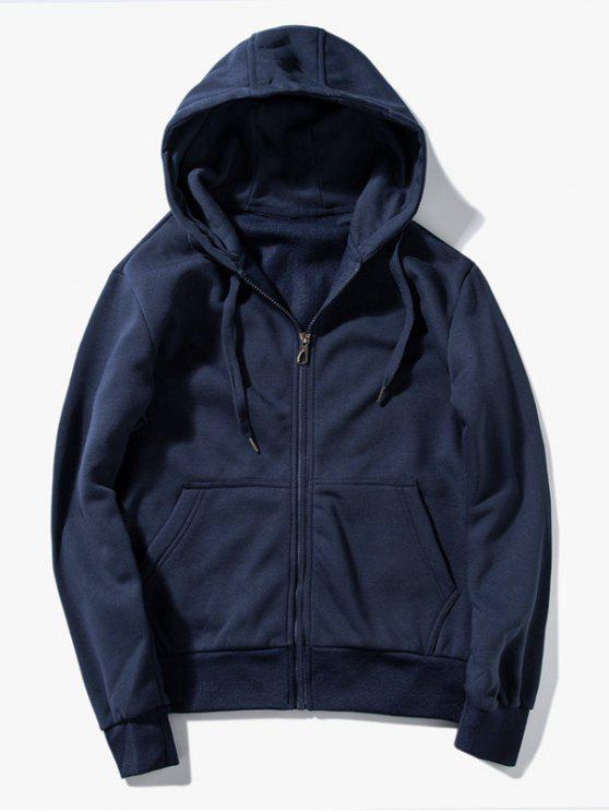 Drawstring Kangaroo Pockets Zip Up Hoodie - Schwarzblau L