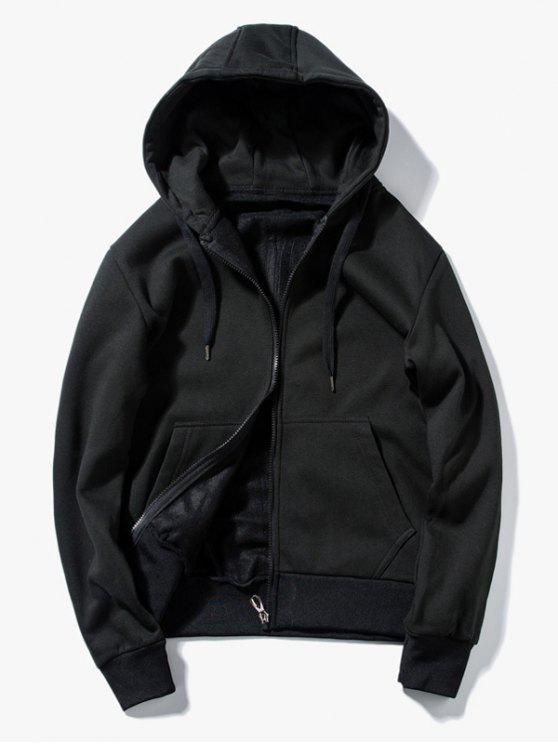 Drawstring Kangaroo Pockets Zip Up Hoodie - Schwarz L